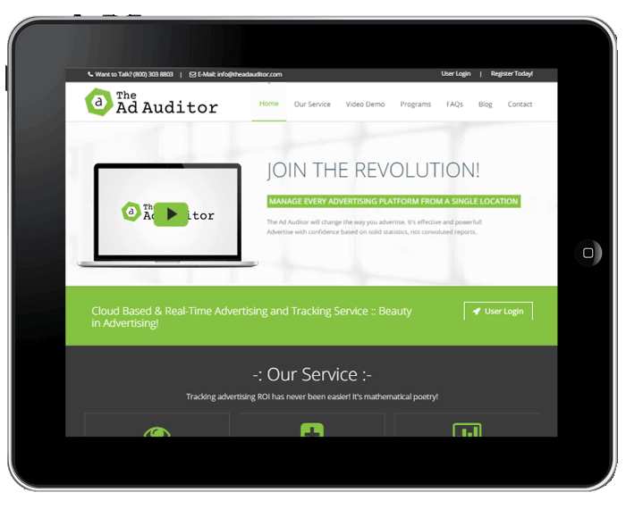 Tablet Screen Image of the Ad Auditor
